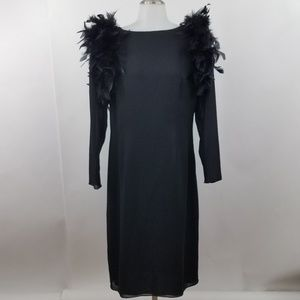 Miss Elliette Dress 12 Vintage 80s Feather Black S
